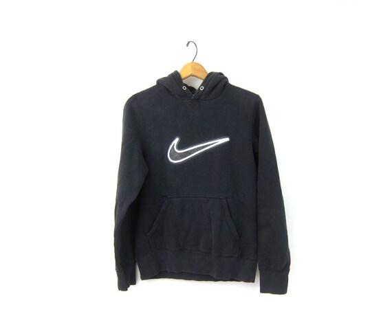 vintage NIKE sweatshirt Hoodie Black & White sweatshirt distressed ATHLETICS Sports Sporty Swoosh Logo Emblem workout Size Small