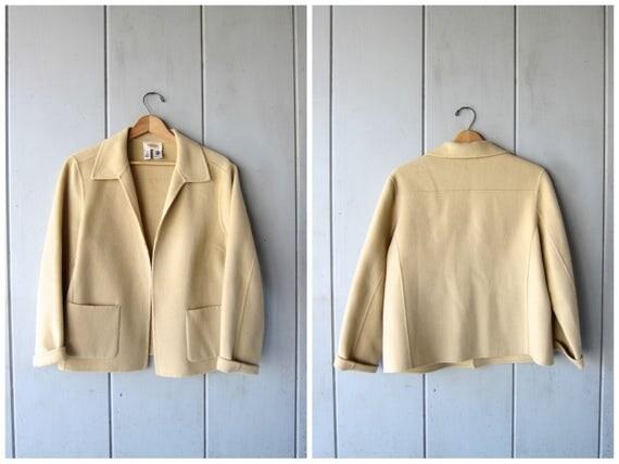 Vintage Modern Wool Sweater Coat 90s Beige Buff Thin Wool Open Cardigan Sweater Preppy Chic Blazer Wool Coat Womens Large