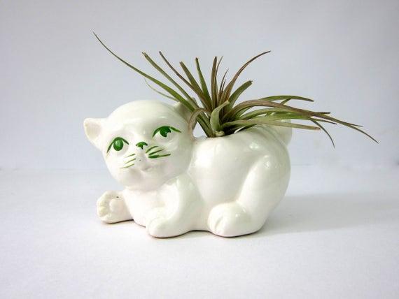 White Cat planter vintage Retro Mid Century flower pot planter Small White RETRO Ceramic Pottery mid century decor