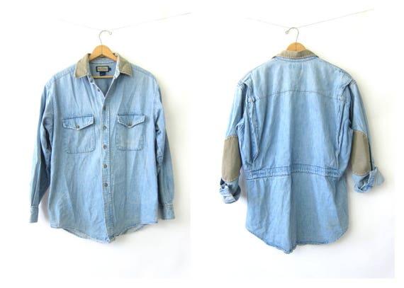 Faded Blue Jean Shirt Rugged Elbow Patch denim shirt coat camping work Shirt hipster jean jacket shirt Men's Size Large DES