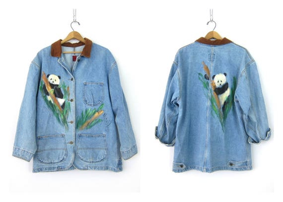Vintage PANDA Field Jacket Denim Jean Jacket Loose Fit Barn coat Painted Artsy Button Up Spring Coat Chore Jacket Womens size Large