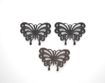 Butterfly filigree brass stamping Butterfly pendant charm lace Large butterfly pendant, black brown,3