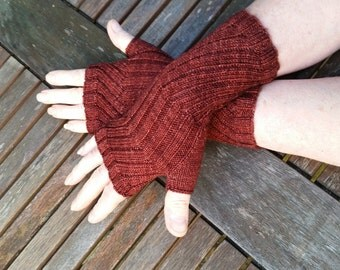 Fingerless Gloves -  Hand  Warmers -  Wrist Warmers. Colourway Botticelli Red.  Hand knit.