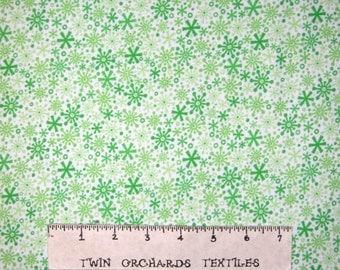 Flannel Fabric - Home for Holidays Christmas Green Snowflake - Riley Blake YARD