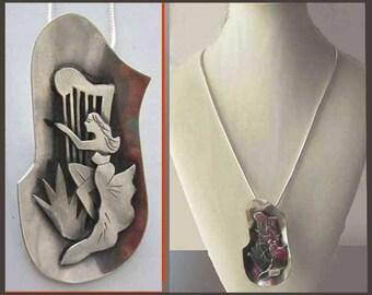 Bezalel BEAUTY, Very Large Modernist Lady with Harp Pendant, Sterling Silver, Bezalel School Israel, Judaica, Vintage Jewelry, Women, Unisex