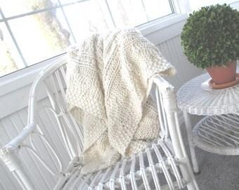 Vintage Afghan * Chunky Cable Knit * Cream * Shabby Cottage * Throw * Old Farmhouse