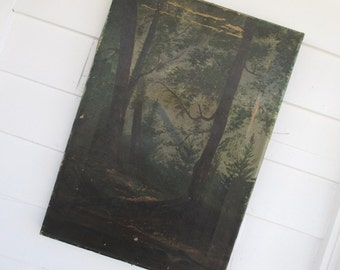 Vintage Oil Painting on Canvas * Antique Landscape * Forest Mountains Trees