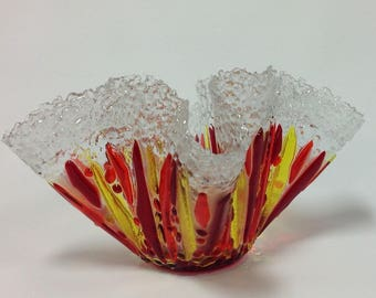 Vase, Fused Glass Vase With Crystal Clear Trim, Red, Orange, Yellow