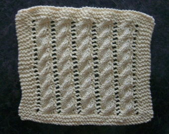 Hand Knit Dishcloth - measures approximately 81/2x9 inches - color is Pale Yellow