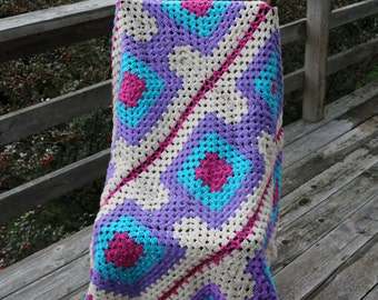 Mulit Color Large Granny Squares Handmade Afghan Purple Cream Blue Fuchsia Lap Afghan Couch throw