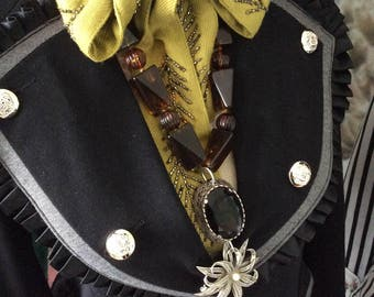SALE Tortoiseshell necklace assemblage boho festival jewelry celtic topaz statement bohemian lagenlook gypsy boho  coupon code RGCSALE