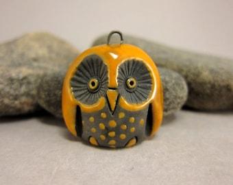 Yellow Owl...Raku Pendant
