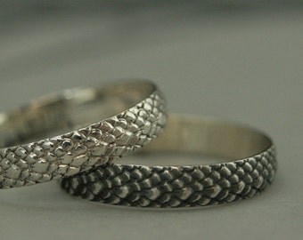 Snakeskin Band--Silver Dragon Scales Ring--Dragon Scale Band--Snake Skin Ring--Reptile Ring--Fantasy Ring--Fantasy Wedding Band
