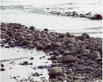 Beach Photography, Wall Decor, Ocean Photograph, Nautical Print, Coastline, Coastal Photo, Fine Art Picture, Seascape, Brown, Slate Grey