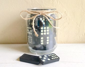 Farmhouse Decor Glass Jar Filled with Vintage Wooden Dominoes
