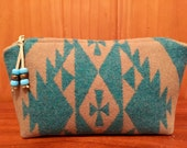 Cosmetic Bag / Makeup Bag / Zippered Pouch Large Wool Turquoise Southwestern Tribal Handcrafted Using Pendleton Woolen Mills Fabric