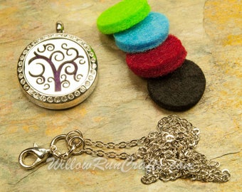 Essential Oil Diffuser Necklace Swirl Tree of LIfe 316L Stainless Steel Locket with Chain 25mm