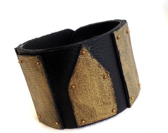 "40% OFF Sale Black and gold leather cuff bracelet   Fashion women's wristband ""Geometry of Metamorphose"" collection"