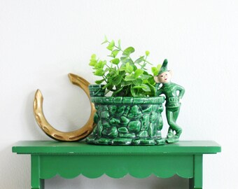 Vintage Treasure Craft Elf Wall Pocket / Ceramic Pixie Planter / Treasure Craft Sprite Planter / Green Ceramic Elf Planter