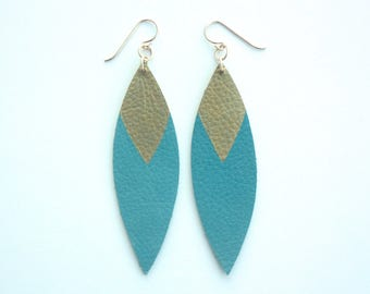Painted Leather Leaf Earrings - Denim Blue Leather and Gold with 14K Gold-Fill