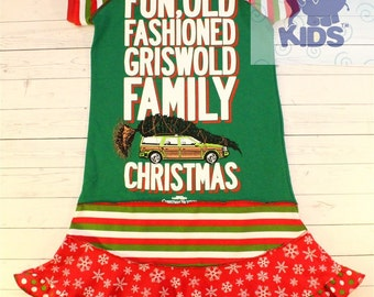 GRISWOLD CHRISTMAS!  a dress made out of authentic tee - super cool funky upcycled  pieced size 10/12 other sizes also available