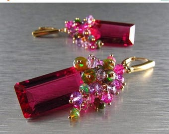 25 % OFF Pink Quartz With Ethiopian Opal, Pink Amethyst and Crystal Gold Filled Cluster Earrings