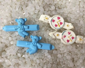 vintage  barrette plastic childs barrettes, bright watches colorful highlights , blue bears
