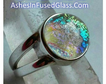 Women's Sterling Silver Cremation Jewelry Ring Size 7 Ashes InFused Glass Memorial Glass Ring Pet Urn 10mm Stone