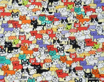 Kawaii Japanese Fabric - Cats & Dogs on Orange - Half Yard (no20161110)