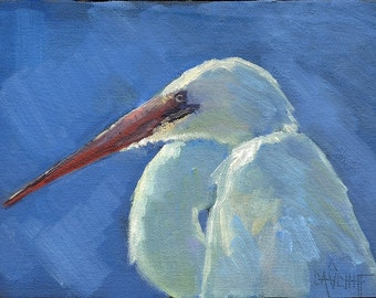 "Wildlife Painting, Snowy Egret Painting, 6x8"" Original Oil Painting, Daily Painting"