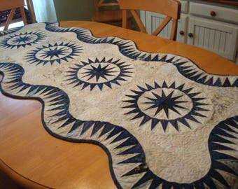 Blue and Cream Star Quilted Table Runner Bed Runner