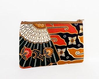 Batik Fabric Zipper Pouch, Fabric Zipper Case, Coin Purse, Change Pouch, Zipper Pouch, Fabric Pouch, Green Pouch, Indonesian Batik Pouch