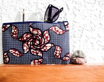 Boho Pouch, Cosmetic Bag, Pencil Pouch, Zipper Pouch, Fabric Pouch, Pouch, Gift for Her, Gift Under 20, Boho African Print in Blues, Browns