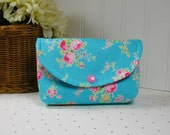 Snap Pouch, Large Snap Pouch, Cosmetic Pouch, Accessory Pouch... Flower Sugar Roses in Aqua