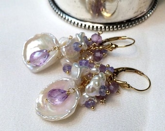 HOLIDAY SALE 20% Amethyst Keishi Pearl Earrings Beach Wedding Earrings Handmade Keishi Pearl Cluster Earrings Gold Fill Wire Wrap Tanzanite-
