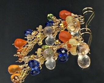 PRESIDENTS DAY SALE Colorful Gemstone Dangle Earring Wire Wrap Gold Fill Blue Kyanite Carnelian Green Peridot Ethiopian Opal Chain Dangle Ge