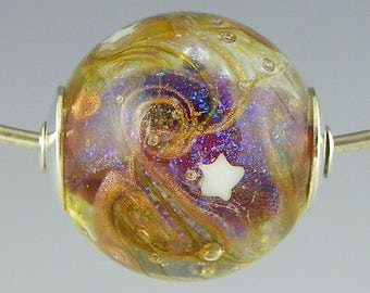 a swirled round galaxy focal with goldstone & dichro handmade lampwork silver cored bead very small hole - To the Stars