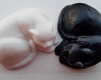 Black and White Cat Soap Set, Sculpture Style, 20% Dedicated to Cat Causes