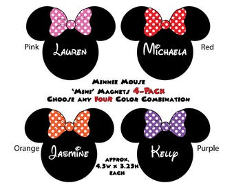 Disney Inspired Minnie Mouse 'Mini' Size Mouse Head Magnet 4-Pack - Choose Any Four Color - For Your Disney Cruise Door