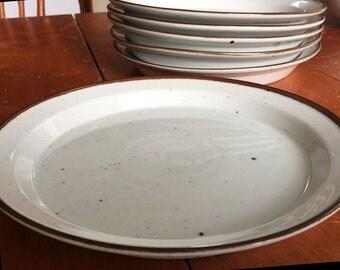 Dansk Brown Mist Denmark Rim Dinner Dishes, 1970s stoneware. Impressed backstamp, Set of Six Nils Refsgaard design.