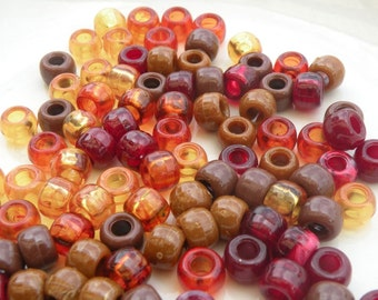 100 Acrylic Pony Beads 9mm Gorgeous Fall Mix or Solid Color Crafts Hair 4mm Hole Buy2 Get 1Free