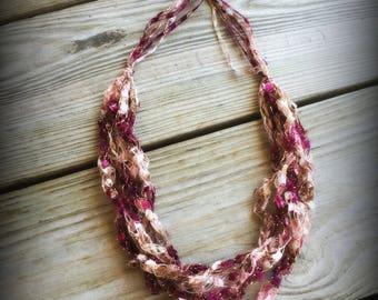 Raspberry Ladder Yarn Necklace/Jewelry/Crocheted Ribbon Necklace/Necklace/Fiber Jewelry/Jewelry/Ladder Necklace/Boho/Crochet/Crochet Jewelry