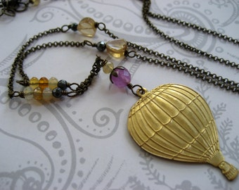Lori Necklace - long necklace with a hot air balloon charm, citrine, and tanzanite on vintage brass