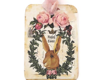 Easter Rabbit Tags, Vintage Paris, Brown Bunny, French Rabbit, Pink Roses, Crown tags,Wreath tags,Gift,Favor Tags, Happy Easter, Australia