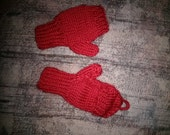 Knitted Kids Convertible Mittens 4 year old Red