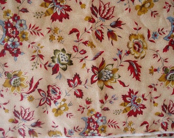 Four Yards Red Maroon/Blue/Gold Flower Fabric