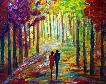Sunset ROMANCE Large Landscape Painting Impressionist Huge Original Art on Canvas 36x36 Ready to Ship