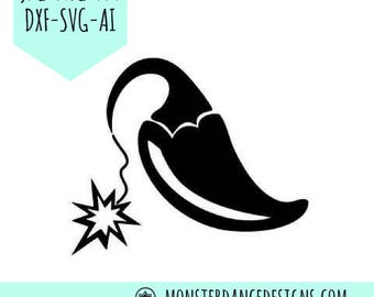 Jalapeno Hot Pepper Digital Pattern Stencil for Silhouette - Etching- Stamping