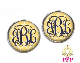 Quatrefoil Monogram Earrings, Yellow Stud Earrings, Monogram Jewelry, Monogram Gift (463)