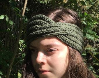 Hunter Green Knit Headband - Boho Knit Turban - Boho Knit Headband - Back To School Accessories - Fall Headband - Fall Accessories
